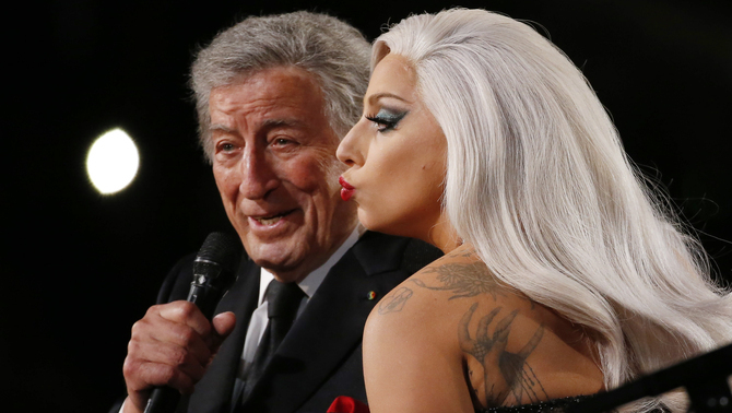 "Lady Gaga performs ""Cheek to Cheek"" with Tony Bennett at the 57th annual Grammy Awards in Los Angeles"